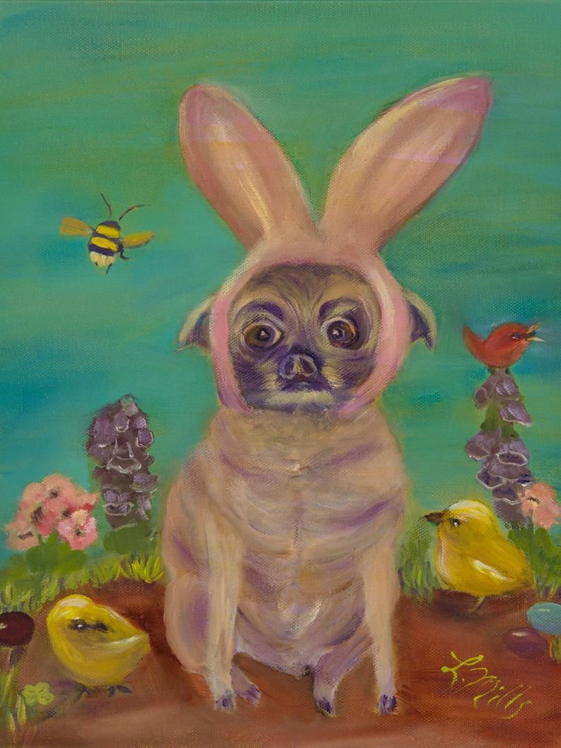 PUG BUNNY Original 11 x 14 Glicee Fine Art Print of Pug in image 0