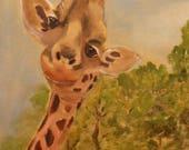 RAFI THE GIRAFFE, Original 12 X 24 Oil Painting of giraffe by Lesley Mills from Merlin's Garden Free Domestic Shipping