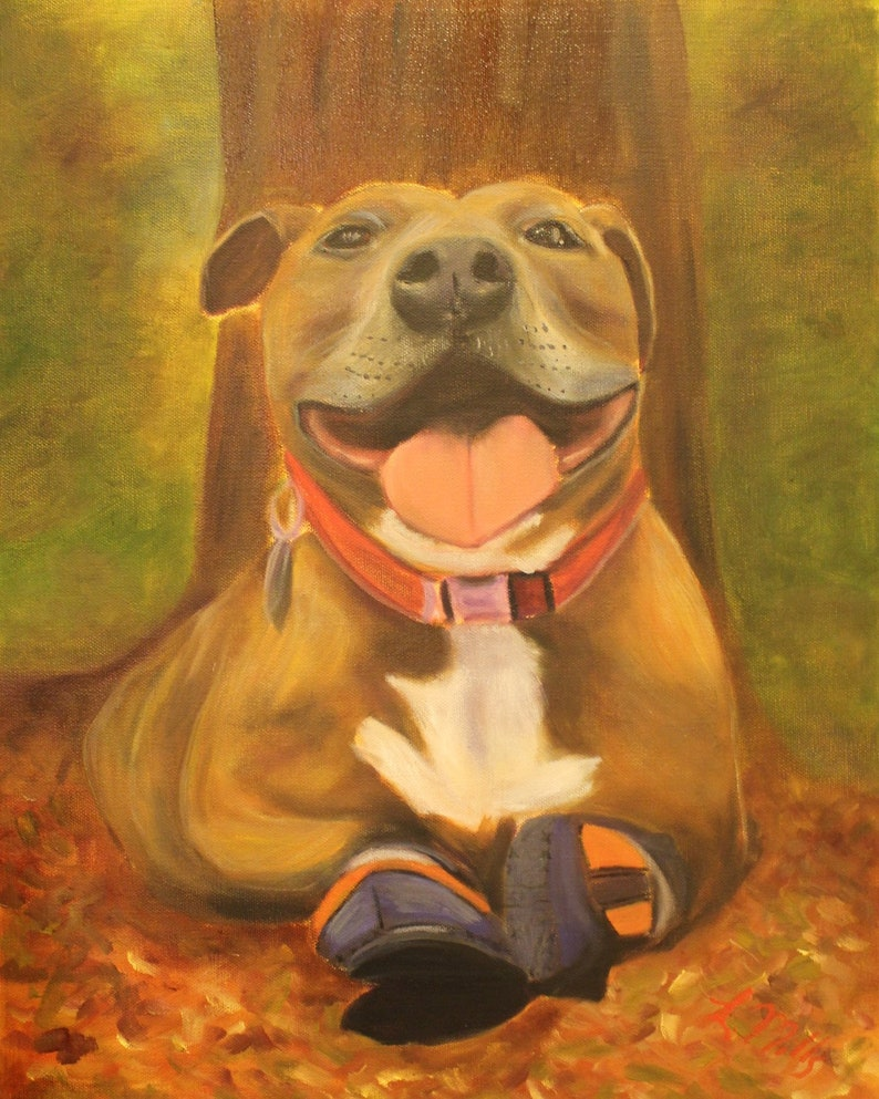 PENNI DOG  Original 16 x 20 Oil Painting of rescued pitbull image 0