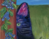 Princess, Handmade Greeting Card from Merlin's Garden of black cat, colorful and whimsical