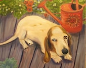 BROOKE, Original 20 x 20 Oil Painting of basset hound by Lesley Mills from Merlin's Garden Free Domestic Shipping