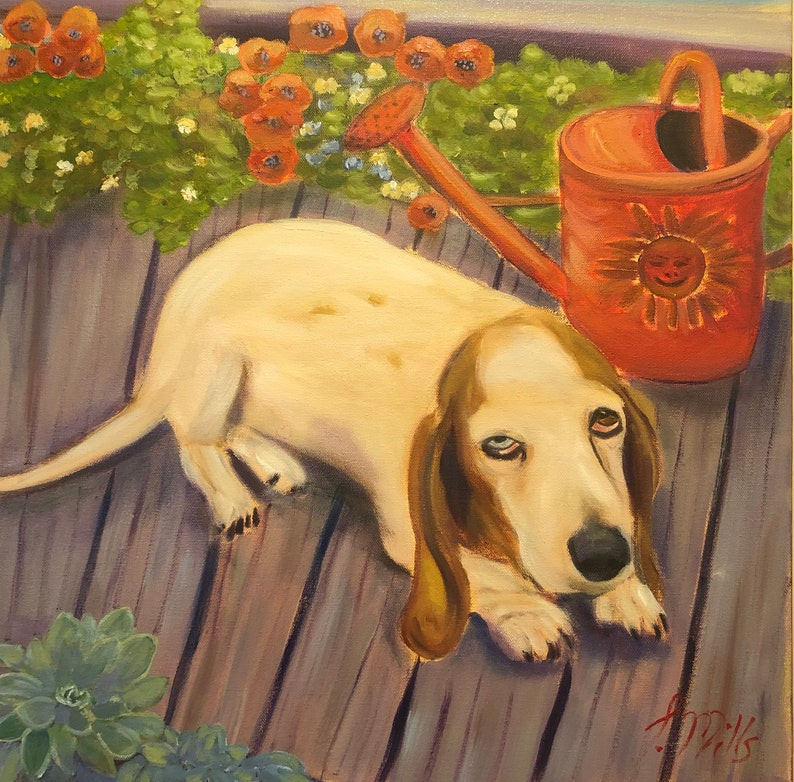BROOKE Original 20 x 20 Oil Painting of basset hound by image 1