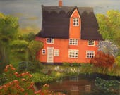 MERLIN'S MANOR, 24 x 30  Original Oil Painting by Lesley Mills from Merlin's Garden Free Domestic Shipping