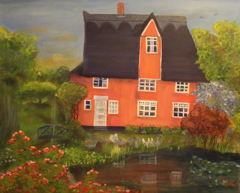 MERLIN'S MANOR 24 x 30  Original Oil Painting by Lesley image 0