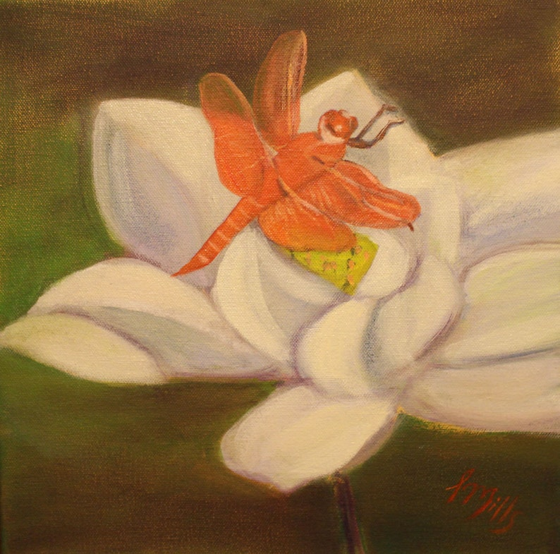 LOTUS AND DRAGONFLY 12 X 12 Colorful Oil Painting of Lotus image 0
