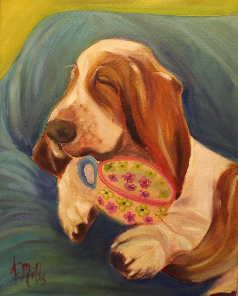 Original 16 x 20 Oil Painting of basset hound by Lesley Mills from Merlin/'s Garden Free Domestic Shipping REST PERIOD
