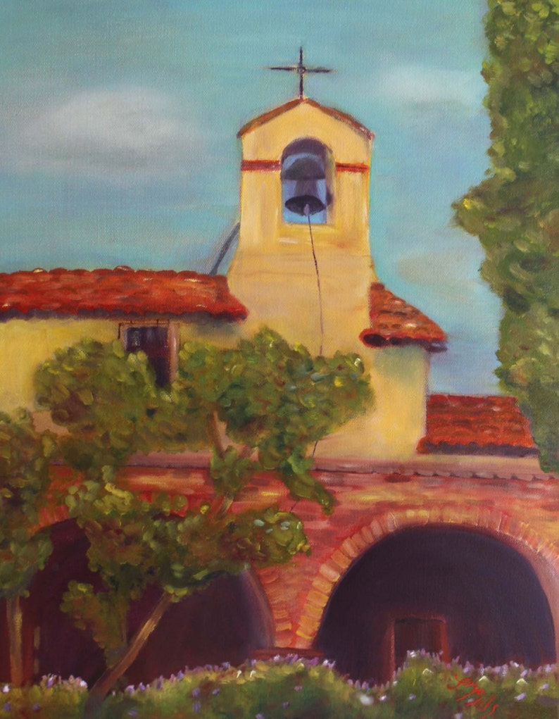 SAN JUAN CAPISTRANO mission 16 x 20 original oil painting by image 0