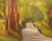 GOING HOME, Original 20 x 20 Oil Painting of country road leading home by Lesley Mills from Merlin's Garden Free Domestic Shipping
