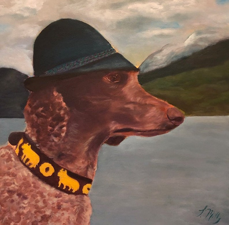 MELCHIOR Original 20 x 20 Oil Painting of poodle by Lesley image 0