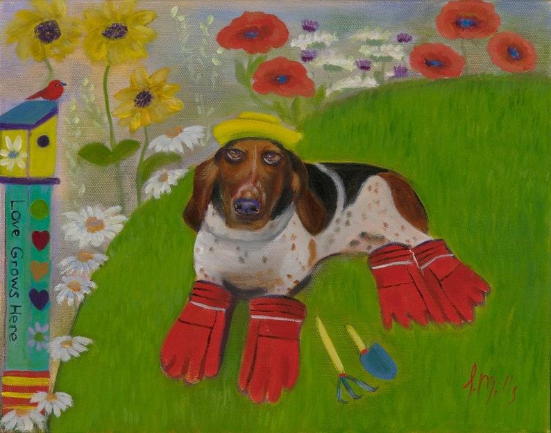 THE GARDENER Original 16 x 20 Oil Painting of basset hound in image 0