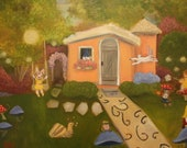 FAIRY GARDEN PARTY, 24 x 30  Original Oil Painting by Lesley Mills from Merlin's Garden Free Domestic Shipping