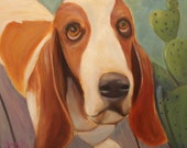 MERLIN'S HEART, Original 20 x 20 Oil Painting of basset hound by Lesley Mills from Merlin's Garden Free Domestic Shipping