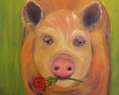 LOVER BOY, 16 x 20  Original Oil Painting of Pig with Red Rose by Lesley Mills from Merlin's Garden  Free Domestic Shipping