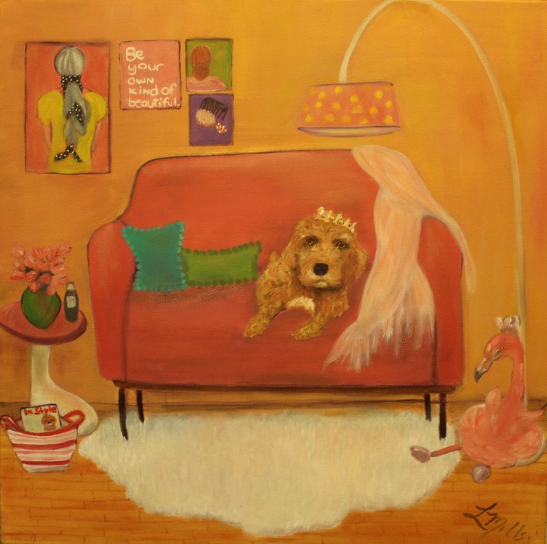 CASHEW'S PINK PALACE  20x20 Original Whimsical Oil image 0