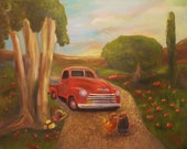 SUNRISE CHEVY, 24 x 30  Original Oil Painting by Lesley Mills from Merlin's Garden Free Domestic Shipping