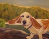 SAM,  Original 16 x 20 Oil Painting of basset hound by Lesley Mills from Merlin's Garden Free Domestic Shipping