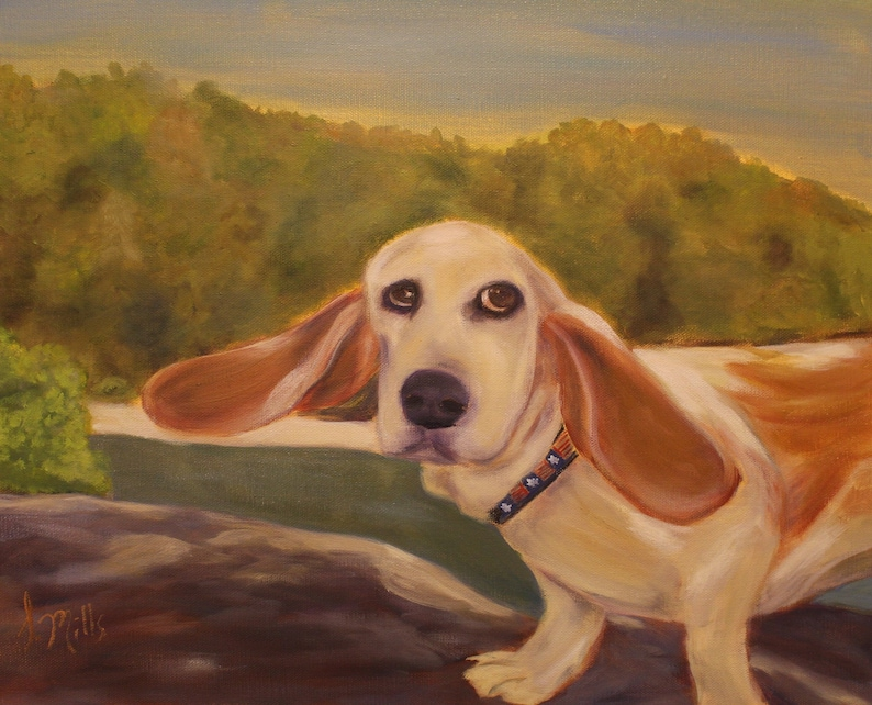 SAM  Original 16 x 20 Oil Painting of basset hound by Lesley image 0