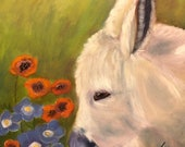 FINDING CENTER, Original 16 x 16 Oil Painting of donkey by Lesley Mills from Merlin's Garden Free Domestic Shipping
