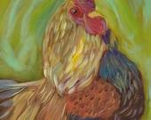 FLIRTY HEN, 11 x 14 Original Oil Painting of Chicken on heavy duty canvas by Lesley Mills from Merlin's Garden