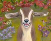 GARDEN OF BLISS,  11 X 14  Glicee Fine Art Print of Goat in Garden Setting by Lesley Mills from Merlin's Garden