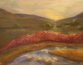 MORNING REVERIE, 14 X 18 Original Oil Landscape by Lesley Mills from Merlin's Garden Free Domestic Shipping