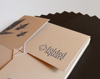 "Black Origami Paper | 100 Sheets, 15cm (6"") Square | Pantone Process Black"