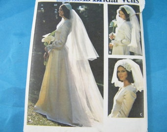 2 head pieces veil in three lengths 1971 vintage Simplicity 9826 bridal veil and cap women/'s pattern one size