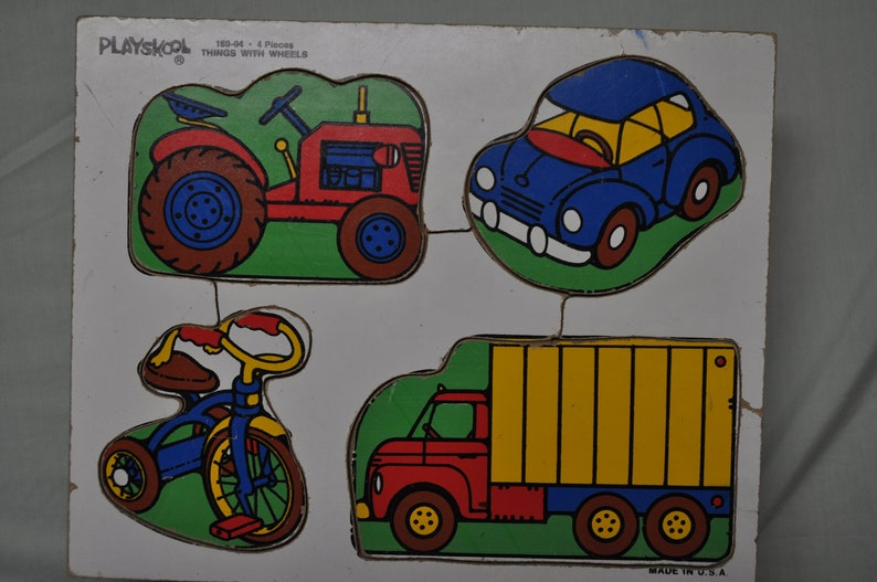 Sale Vintage Wooden Puzzle Things With Wheels 4 Pieces Complete By Playskool See Description
