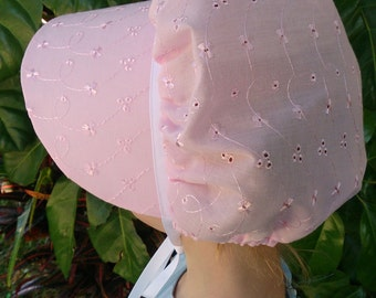 CLEARANCE! Size 1-3 Pink Eyelet Bonnet,Valentine's Day Toddler Bonnet,  Prairie Costume, Pioneer Costume, Pink Sun Bonnet, Prairie bonnet