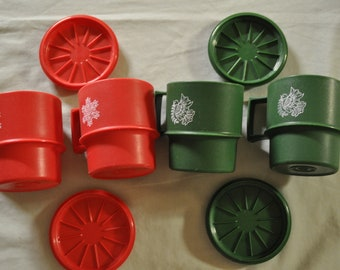 Set of 4 Tupperware Mugs with Coasters/Lids - 2 Red & 2 Green
