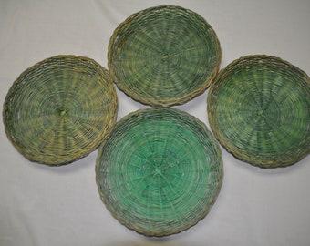 """4 Wicker Paper Plate Holders - Approx. 9 1/2"""" across"""