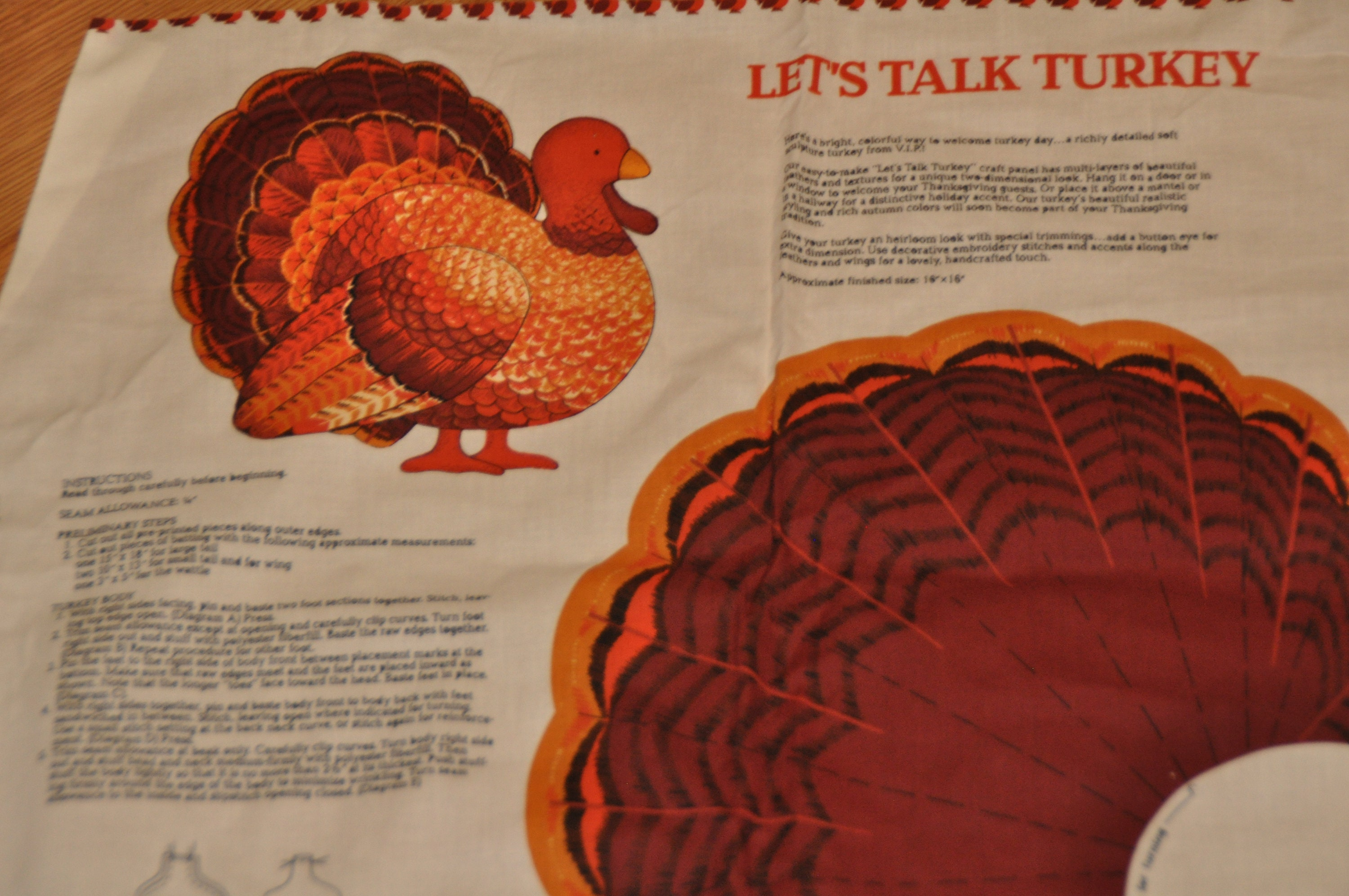 Turkey - Door or Wall Hanging - Cut and Sew - Fabric Panel - Approx  16