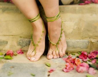 Green drops beaded barefoot sandals. Sexy crochet  foot thong jewelry. Summer beach fashion