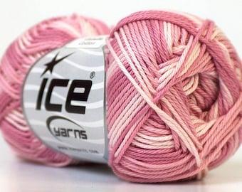 100% Mercerised Cotton yarn White Orchid Lilac natural yarn, Multicolored Summer cotton yarn, baby yarn 50 gr /125m