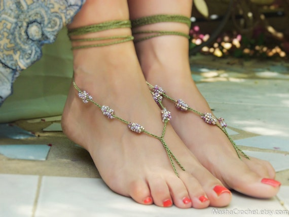 Forest Fairy Barefoot Sandal Sexy Foot Thong Beaded Foot  Etsy-5377