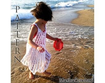 Crochet pattern baby Summer dress for girl openwork lace stitch