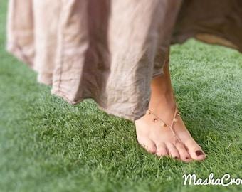 Beige Tan beaded crochet barefoot sandles/ Beach wedding crochet barefoot sandals, belly dance foot wear