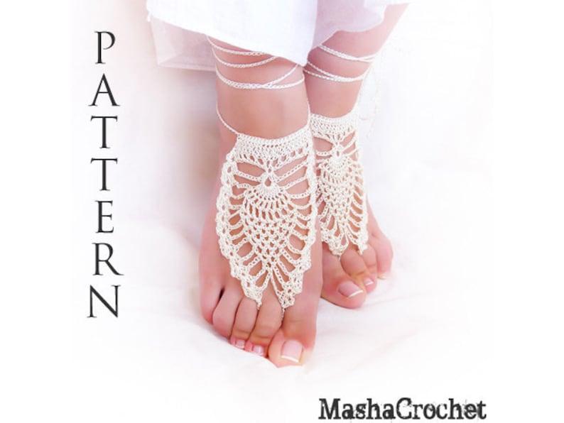 Barefoot Sandal Crochet Pattern Pineapple Motif Pdf File Etsy