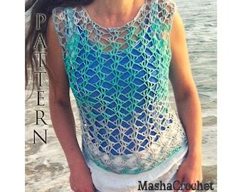Crochet  Pattern, Beach cover up crochet pattern. Ombre Lace Crochet tank top, Summer fashion