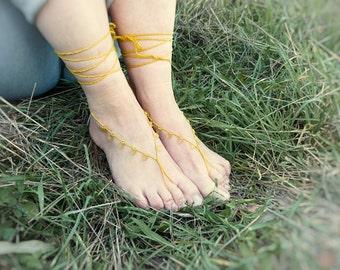 Yellow wedding barefoot sandles. Beach fashion crochet barefoot sandals Bridal sexy foot jewelry.