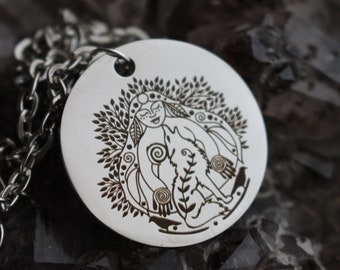La Loba - Wolf Woman Necklace - Singing over the Bones - Bone Woman Necklace - Laser Engraved Stainless Steel Pendant Necklace