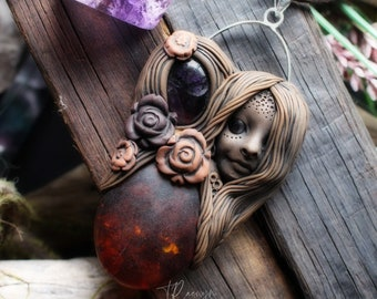 Fire Element Goddess Necklace with Fluorite Gemstone and Fire Resin. (Free Shipping)