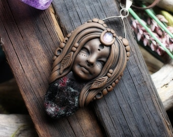 Goddess Necklace with Moonstone and Almandine spar- Handcrafted Goddess Pendant on Vegan Suede Necklace (Free Shipping)