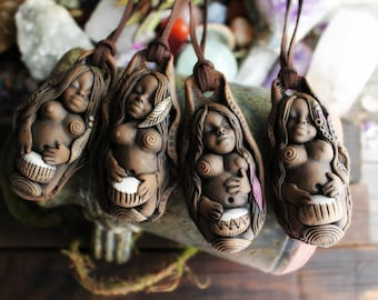Drumming Circle Goddess Necklaces -   Handcrafted Clay Pendant (Free Shipping)