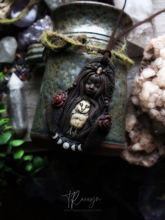 Moon Phase Goddess Necklace with Labradorite + Owl. FULL MOON March 27th 2021.