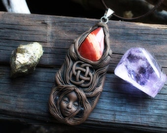 Goddess Necklace with Jasper Gemstone  - Handcrafted in Clay - (Free Shipping)