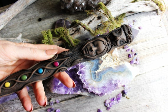 Crystal Point Wand, with Owl Medicine, Fluorite Crystal, Clay Magical Tool. By TRaewyn.