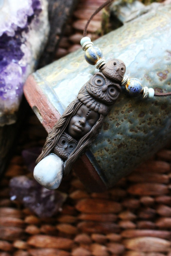 Owl Spirit Animal Necklace with Angelite  - Handcrafted in Clay - Totem Pole Necklace