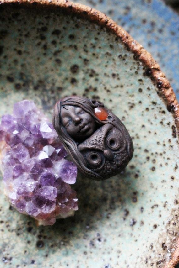 Owl Spirit Ring with Carnelian Gemstone -  Fully Adjustable . Goddess Ring . Crystal and Gemstone Jewelry