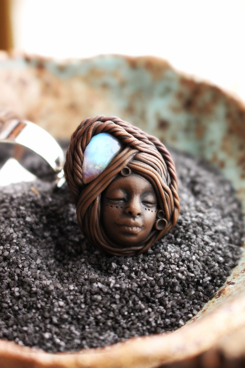 Fully Adjustable Handmade Clay Jewelry Goddess Crystal and Gemstone Jewelry Moonstone Ring Clay Goddess Ring
